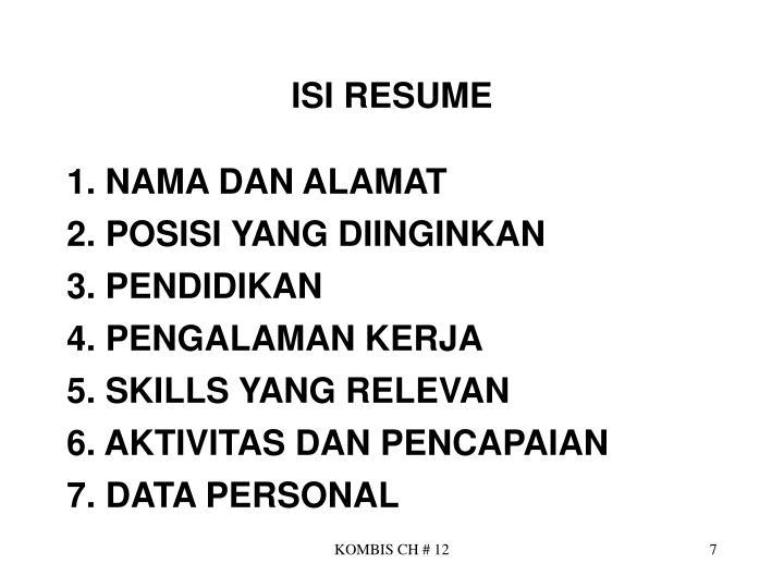 ISI RESUME