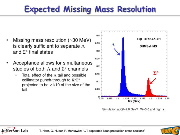 Expected Missing Mass Resolution