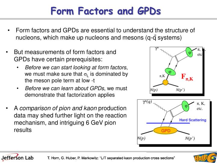 Form factors and gpds