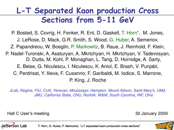 L-T Separated Kaon production Cross Sections from 5-11 GeV