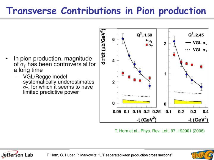 Transverse Contributions in Pion production