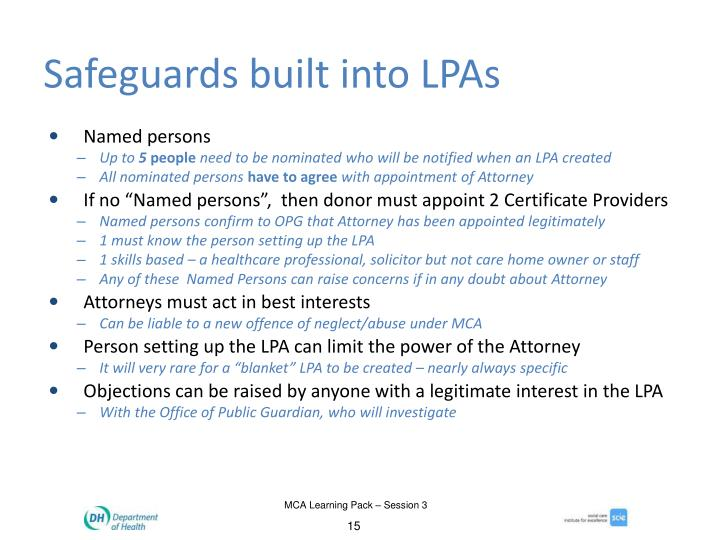 Safeguards built into LPAs