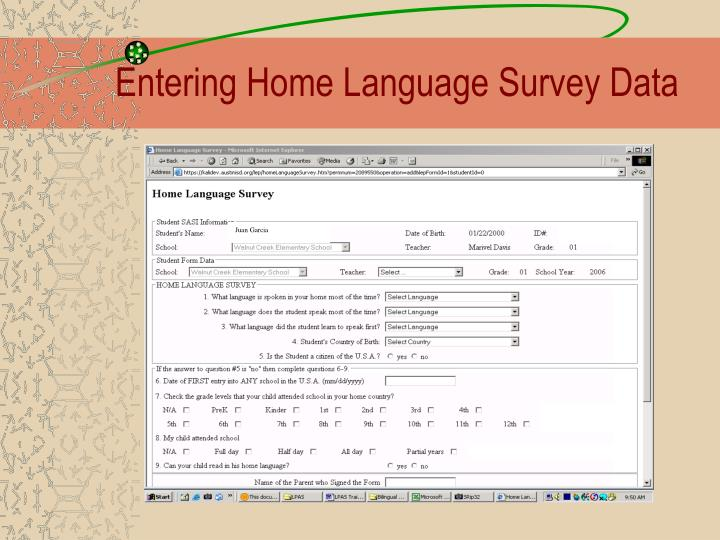 Entering Home Language Survey Data