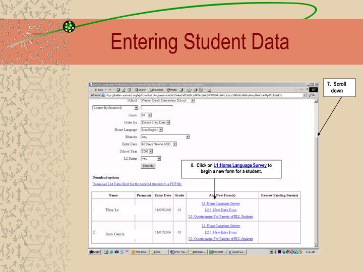 Entering Student Data