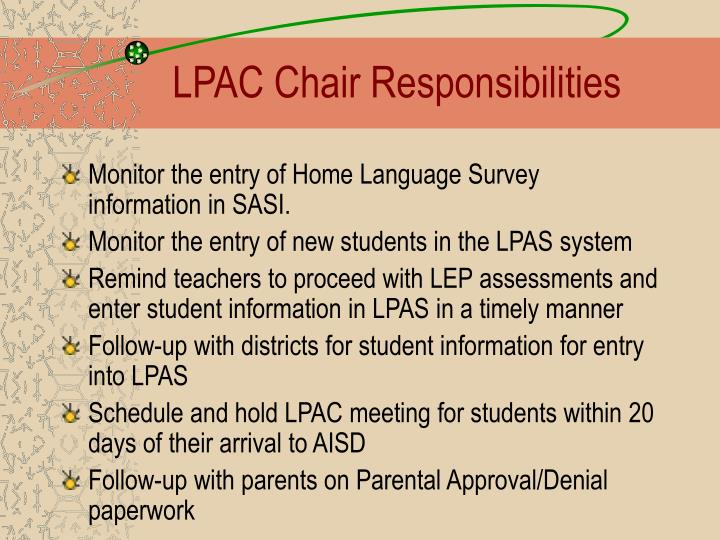 LPAC Chair Responsibilities