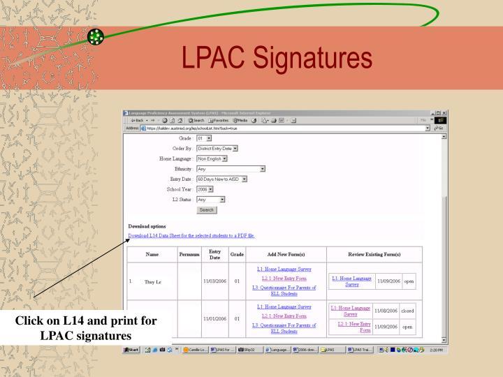LPAC Signatures