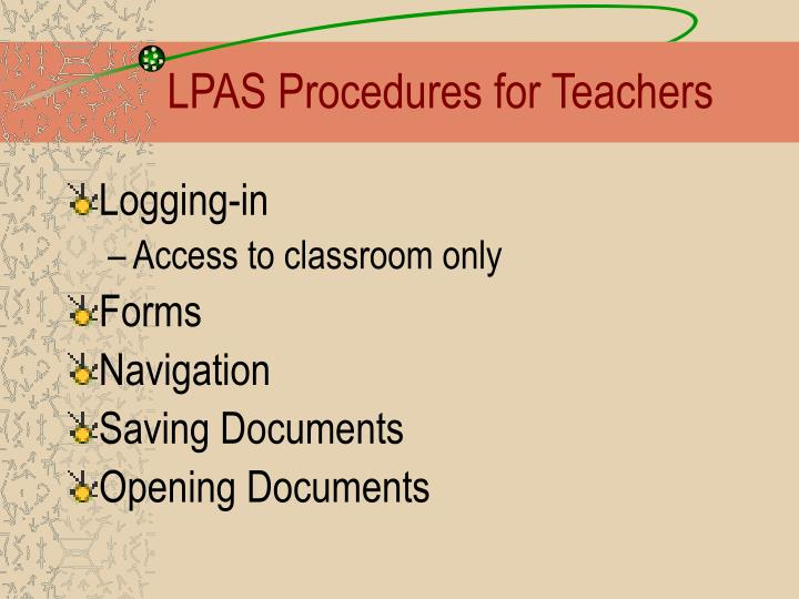 LPAS Procedures for Teachers
