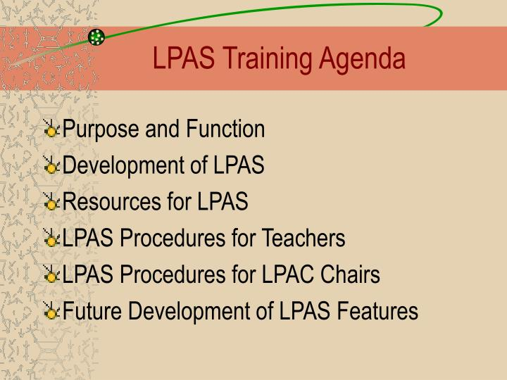 Lpas training agenda