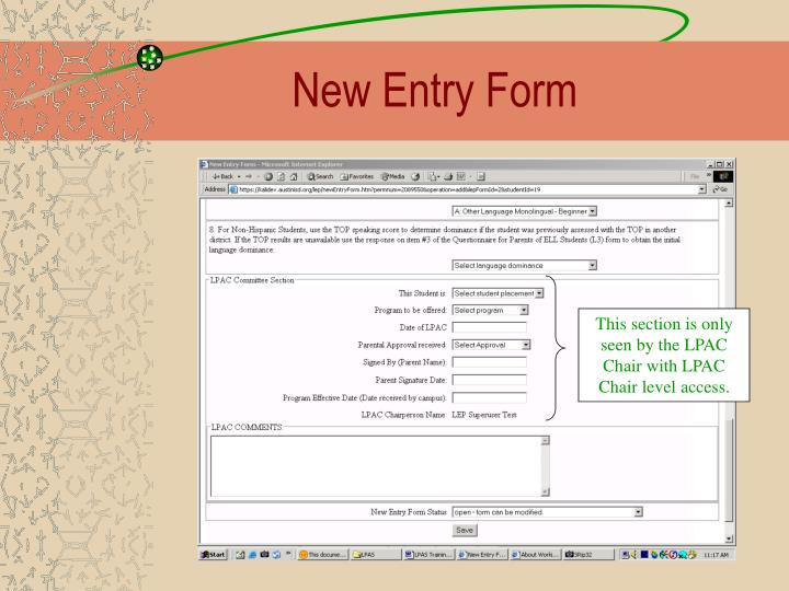 New Entry Form