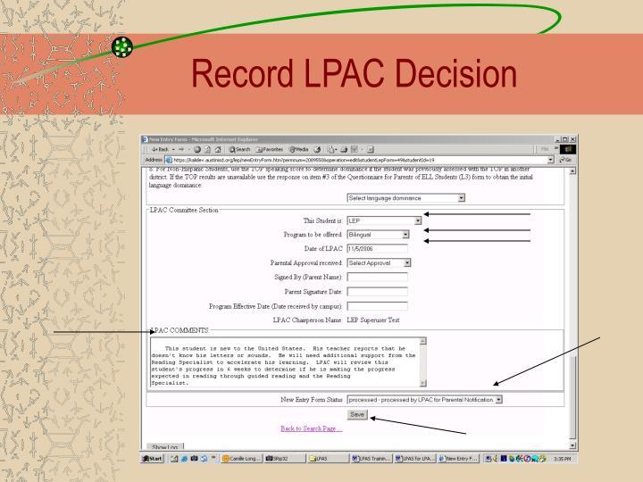 Record LPAC Decision