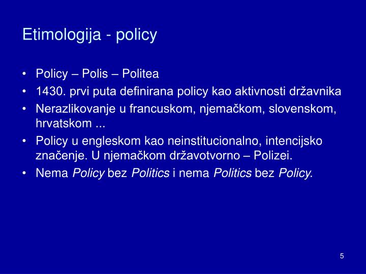 Etimologija - policy