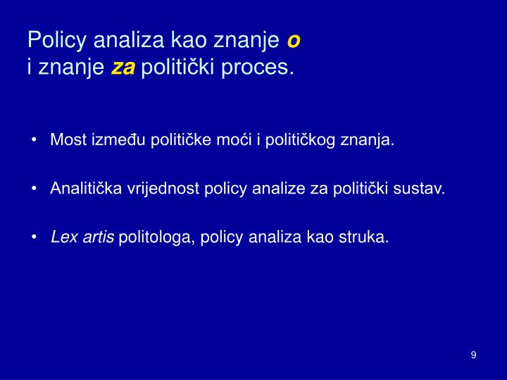 Policy analiza kao znanje