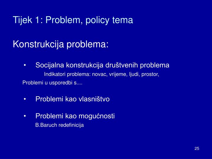 Tijek 1: Problem, policy tema