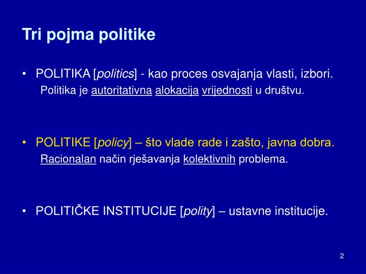 Tri pojma politike