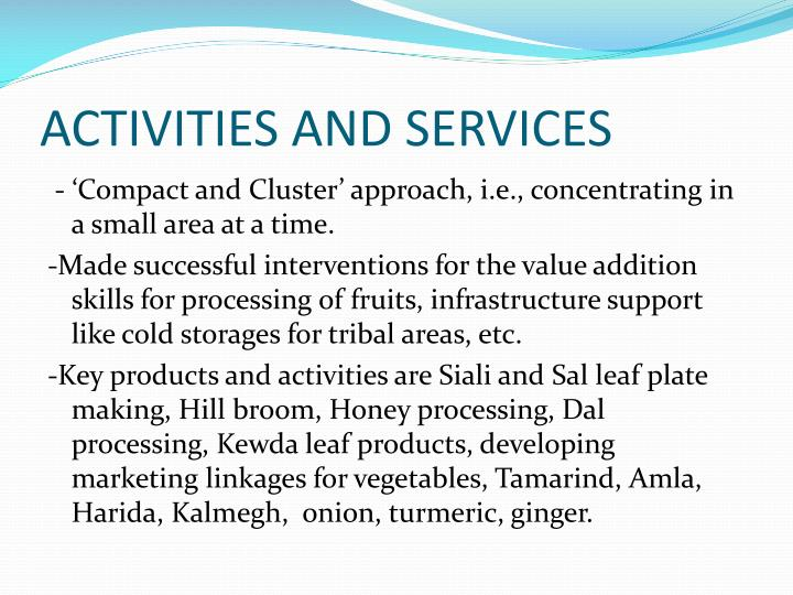 ACTIVITIES AND SERVICES