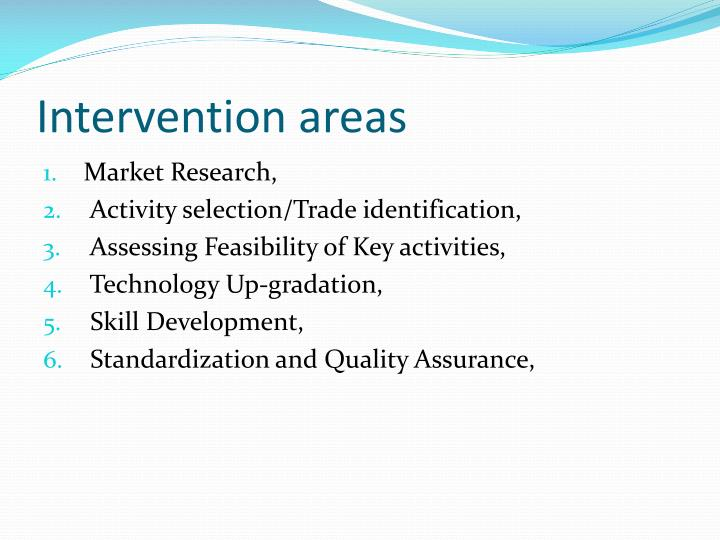Intervention areas