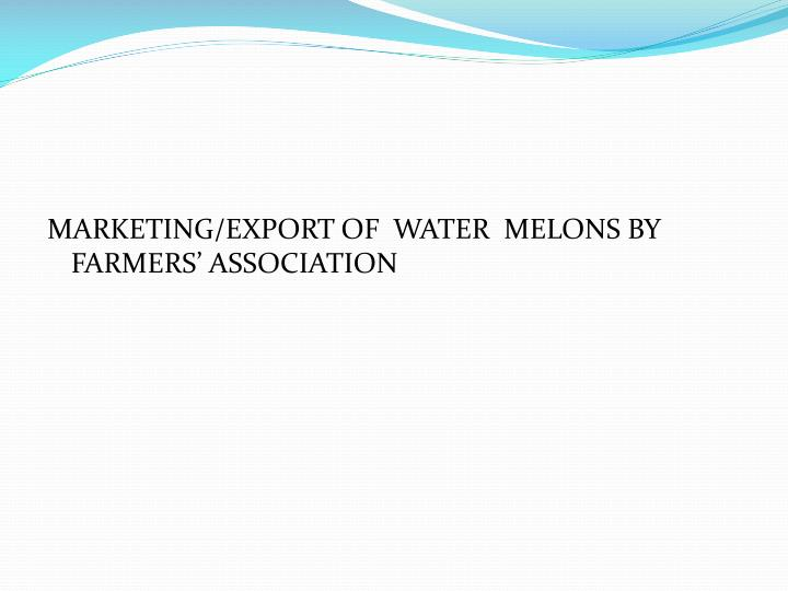 MARKETING/EXPORT OF  WATER  MELONS BY  FARMERS' ASSOCIATION