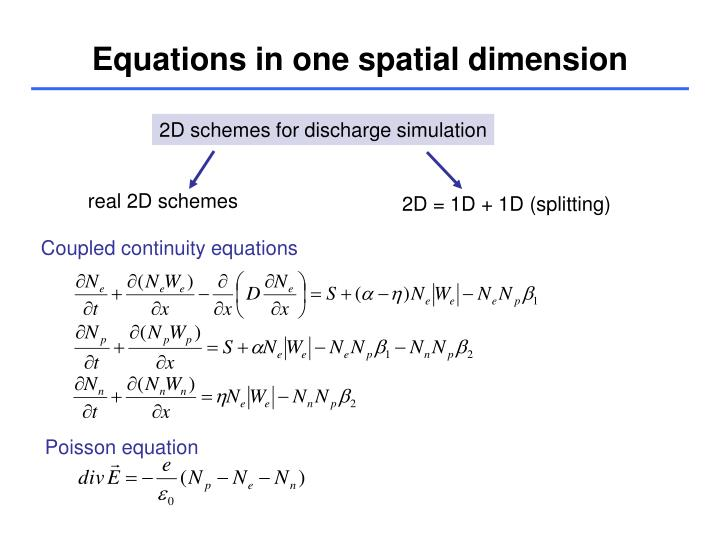 Equations in one spatial dimension