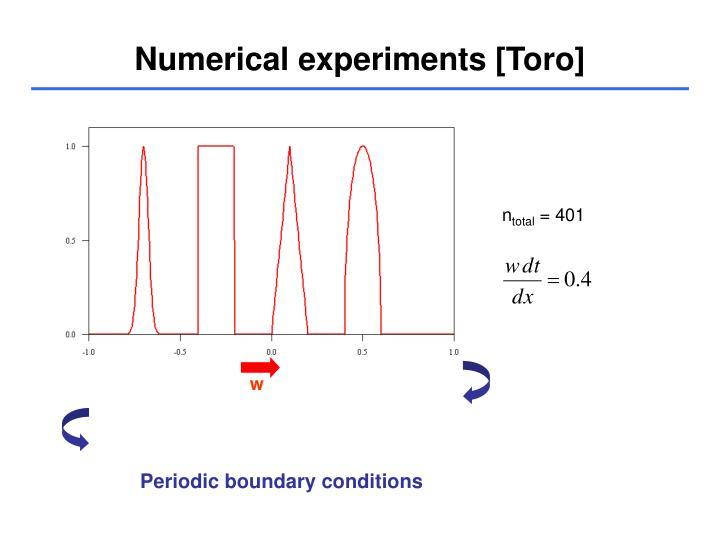 Numerical experiments [Toro]