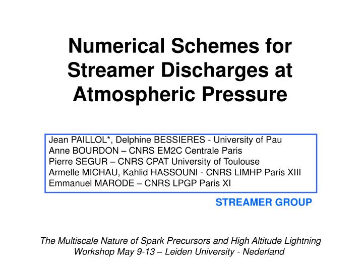 Numerical Schemes for Streamer Discharges at Atmospheric Pressure