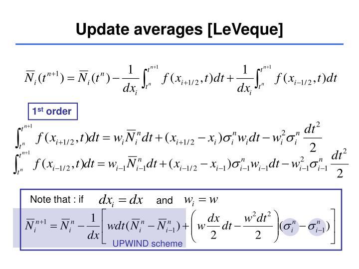 Update averages [LeVeque]