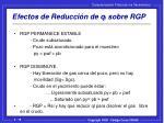 efectos de reducci n de q l sobre rgp