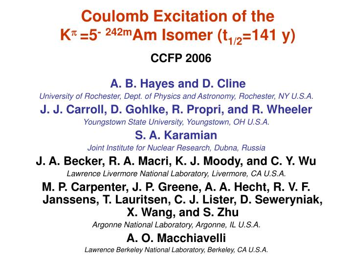 Coulomb Excitation of the