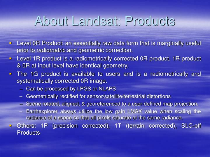 About Landsat: Products