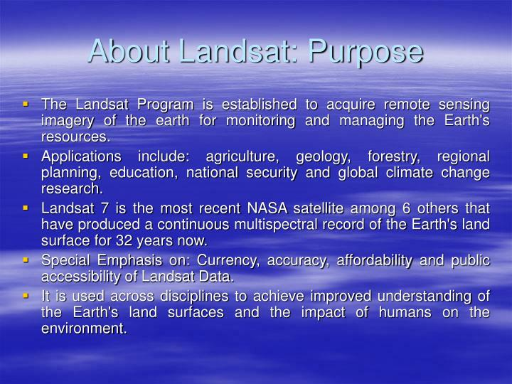 About Landsat: Purpose