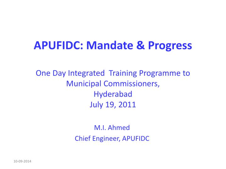 APUFIDC: Mandate & Progress