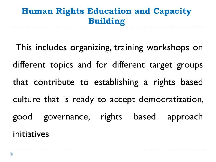 Human Rights Education and Capacity Building