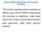 human rights education and capacity building