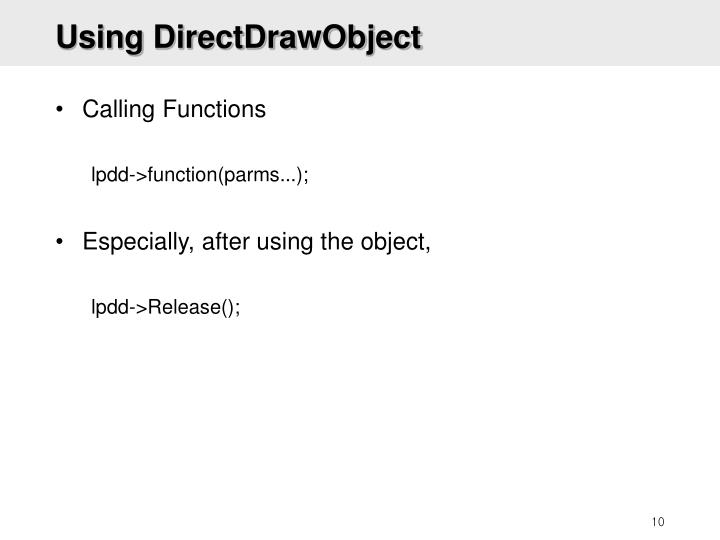 Using DirectDrawObject