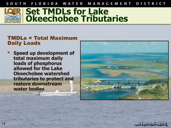 Set TMDLs for Lake Okeechobee Tributaries