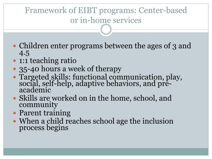 Framework of EIBT programs