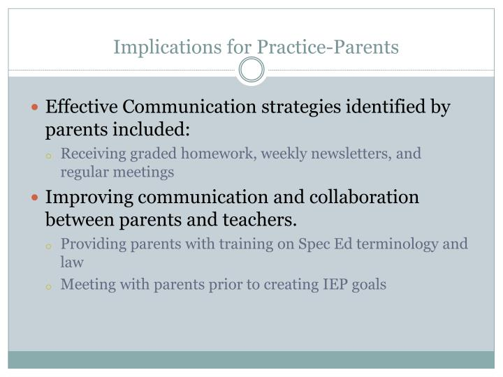 Implications for Practice-Parents