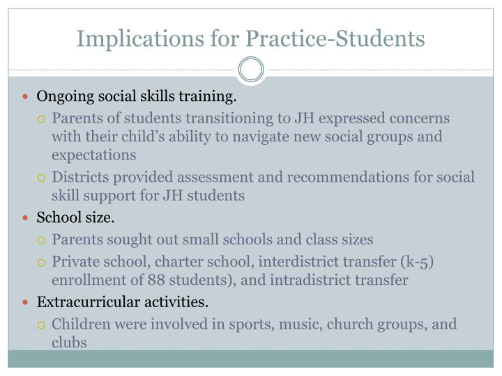 Implications for Practice-Students
