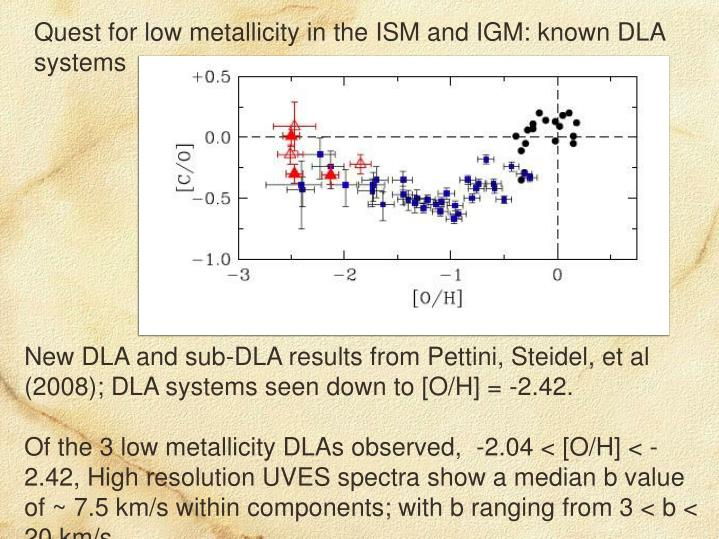 Quest for low metallicity in the ISM and IGM: known DLA systems