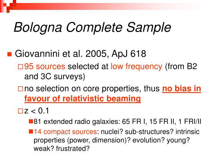 Bologna Complete Sample
