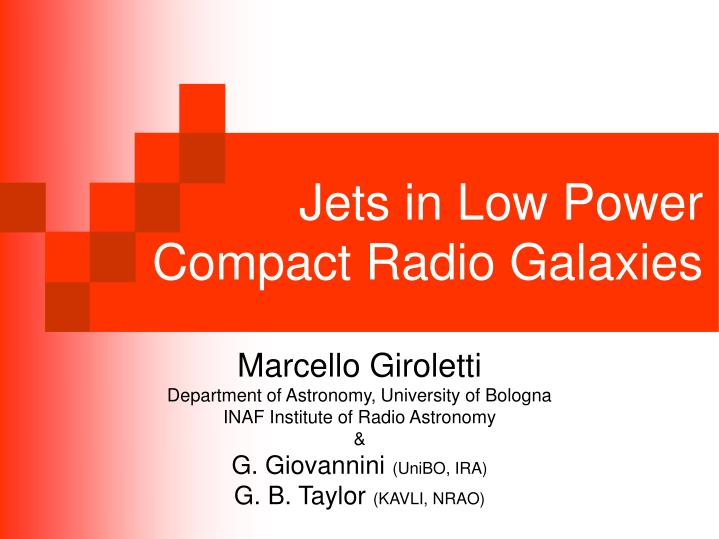 Jets in low power compact radio galaxies