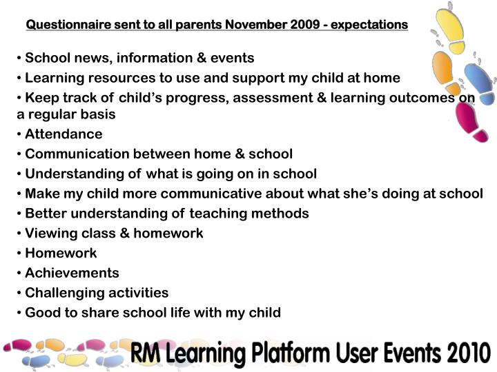 Questionnaire sent to all parents November 2009 - expectations