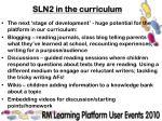 sln2 in the curriculum