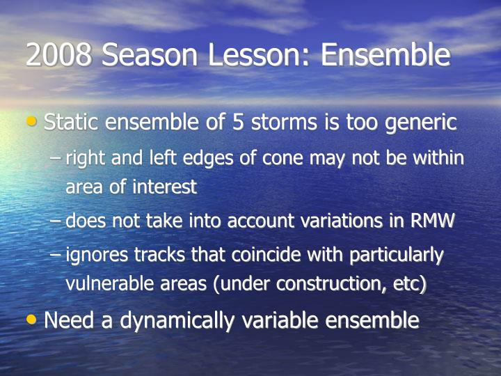 2008 Season Lesson: Ensemble