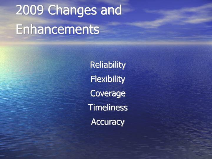 2009 Changes and Enhancements
