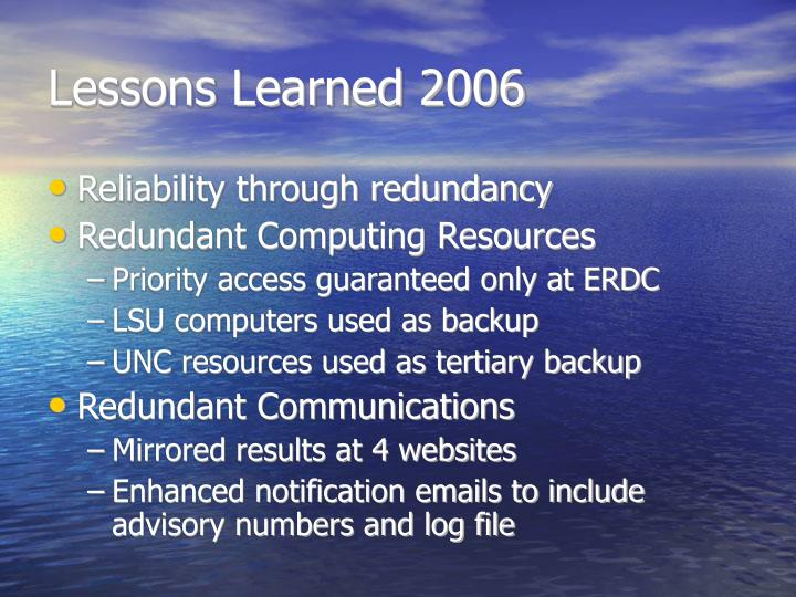 Lessons Learned 2006