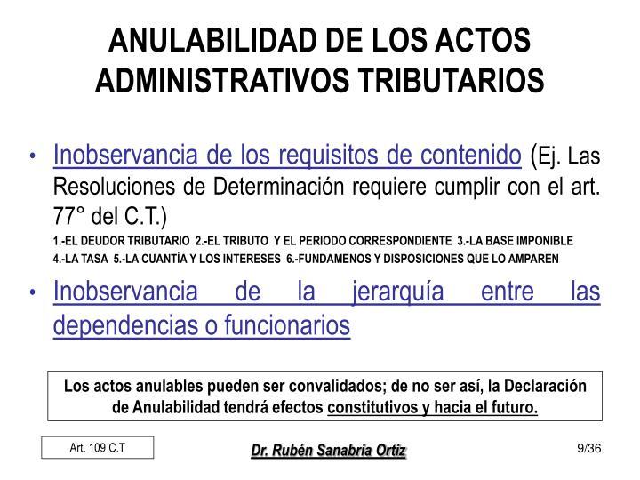ANULABILIDAD DE LOS ACTOS ADMINISTRATIVOS TRIBUTARIOS