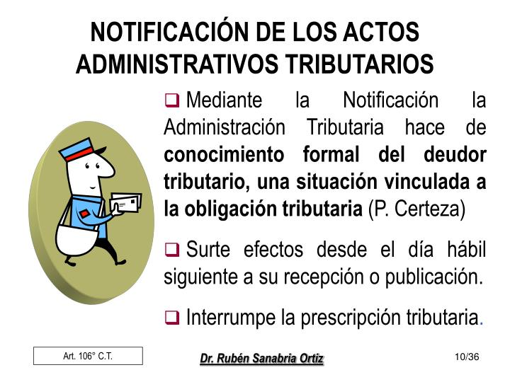 NOTIFICACIÓN DE LOS ACTOS