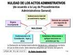 nulidad de los actos administrativos de acuerdo a la ley de procedimientos administrativos general