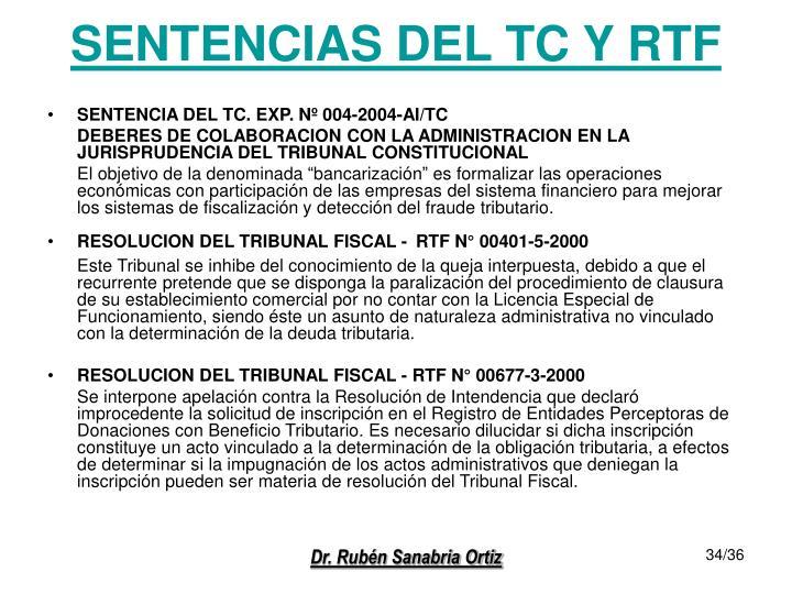 SENTENCIAS DEL TC Y RTF
