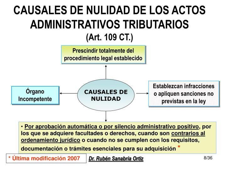 CAUSALES DE NULIDAD DE LOS